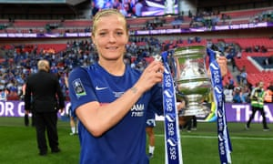 Katie Chapman with the trophy after Chelsea's 3-1 win