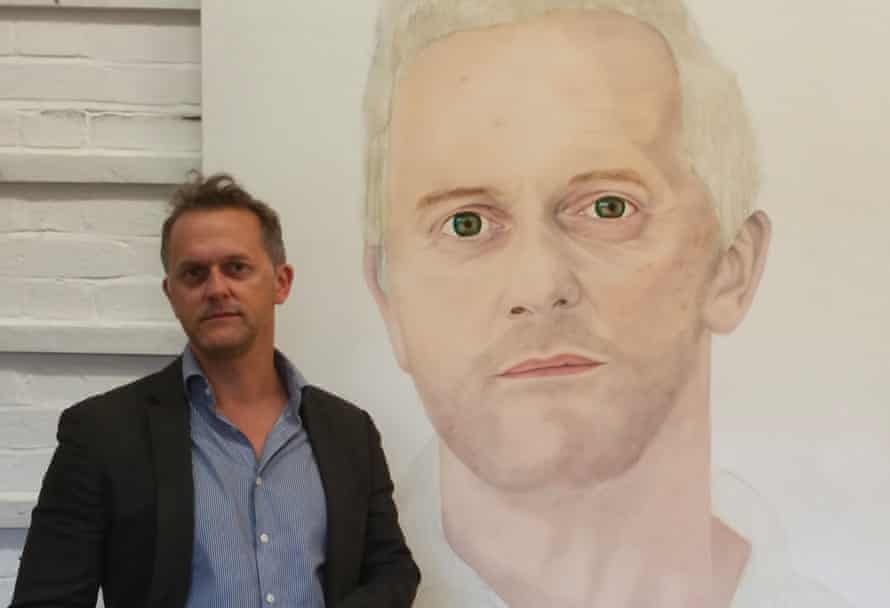 Mark Rice-Oxley with Andrea Tyrimos's portrait of him.