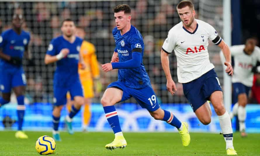 Mason Mount (left) runs free of Eric Dier in a display that helped Chelsea beat Spurs 2-0.