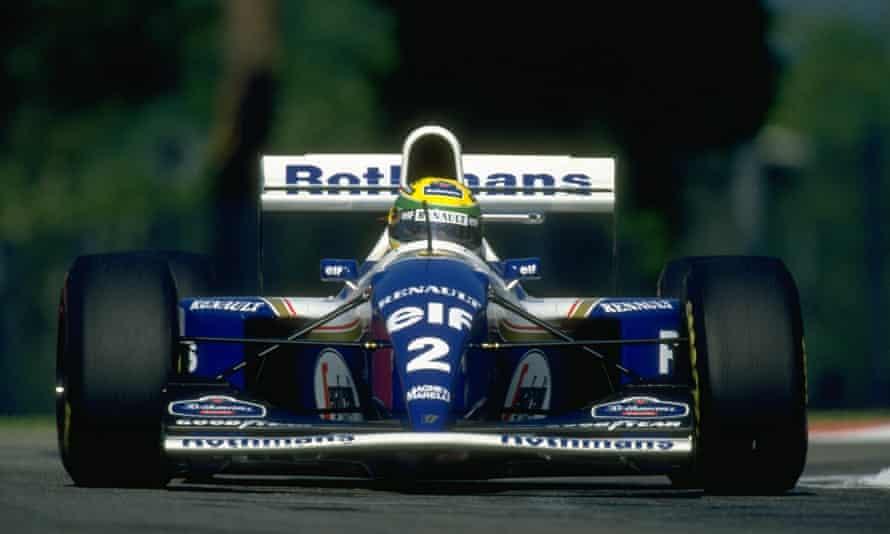 Ayrton Senna in his Williams during the San Marino Grand Prix at the Imola circuit in 1994