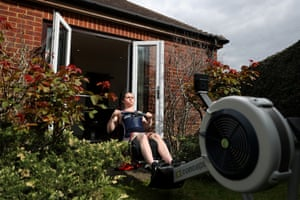 Lauren Rowles, a Paralympic gold medal-winning rower, trains at her home in Twyford, Berkshire.