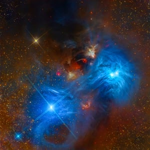 NGC 6726 and NGC 6727Mark Hanson, Warren Keller, Steve Mazlin, Rex Parker, Tommy Tse, David Plesko, Pete Proulx (USA). These spectacular reflection nebulae in the Corona Australis constellation depict the characteristic vivid blue colour produced by the light of hot stars, reflected by silica-based cosmic dust. A rare high resolution view of the cores NGC 6726 and 6727 is captured on camera. The data was acquired by Star Shadows Remote Observatory at CTIO's PROMPT2, using LRGB filters, stacked with CCDStack and post-processed in Photoshop and PixInsight.