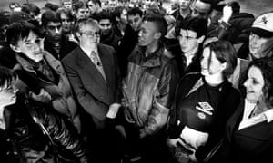HM Coroner Christopher Davies talking to Sheffield teenagers in 1997 about the increase in deaths in the city due to drugs abuse.