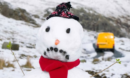A sad snowman in Wrynose Pass, Lake District.
