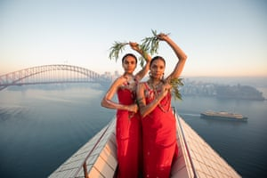Jannawi Dance Clan on top of the Sydney Opera House in the lead-up to Dance Rites, the First Nations dance competition that takes place in the forecourt in November