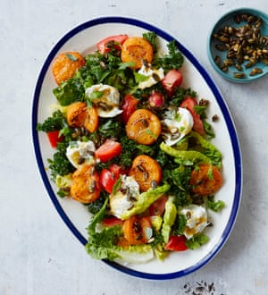 Thomasina Miers' apricot salad with burrata, kale and crunchy seeds.