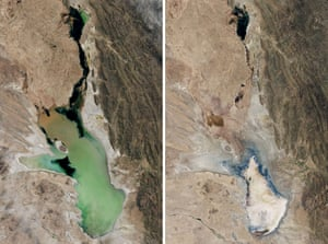 The shrinking Lake Poopo in the Altiplano Mountains, Bolivia