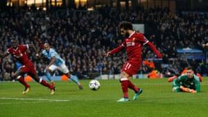 Mohamed Salah chips in for the equaliser.