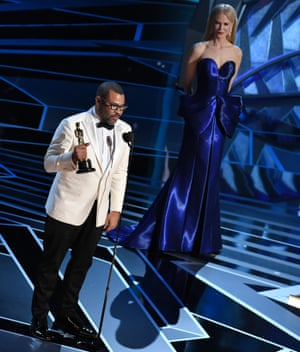 Jordan Peele with the Oscar for Original Screenplay for Get Out