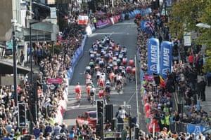 The peloton climbs Parliament Hill, in Harrogate