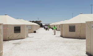 Tents line the facility on the outskirts of a tiny town close to El Paso, Texas.