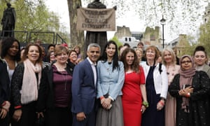 The London mayor, Sadiq Khan, photographed in front of the statue of suffragette Millicent Fawcett with Labour MPs and activists, said he is 'a proud feminist'.