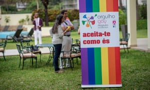 'Accept yourself as you are' is the slogan on a rainbow sign as part of a gay pride campaign in Maputo, Mozambique.