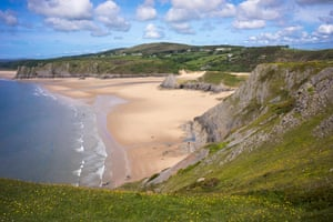 Three Cliffs Bay on the Gower Peninsula in Wales