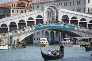 Venice, Italy Protests reach the Rialto bridge
