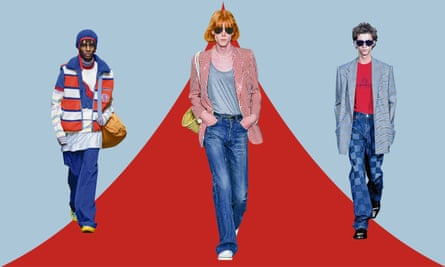 From left to right: all the flares, on the Marni, Celine and Balenciaga catwalks.