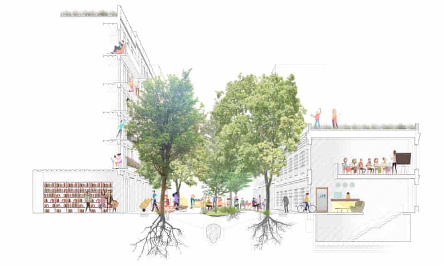 An artist's impression of people dining in one of the new public squares
