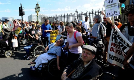 A protest in London, September 2016, against disability benefit cuts.