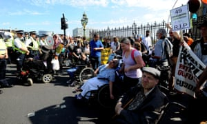 A disability benefits protest on Westminster bridge in September