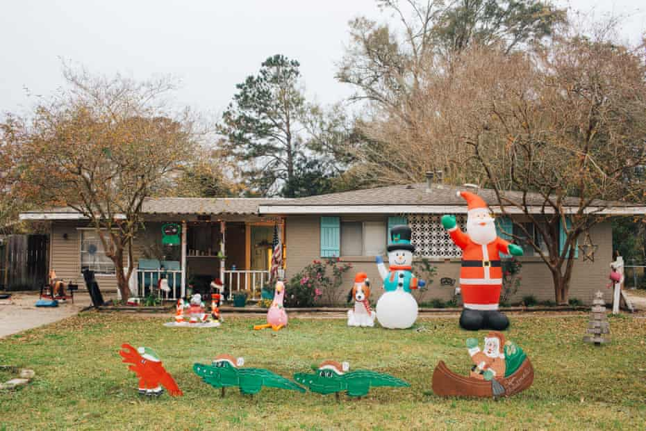 A home decorated in Louisiana Christmas themed ornaments.