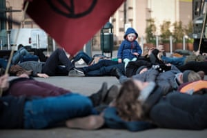 Brussels, Belgium: Climate change activists stage a protest