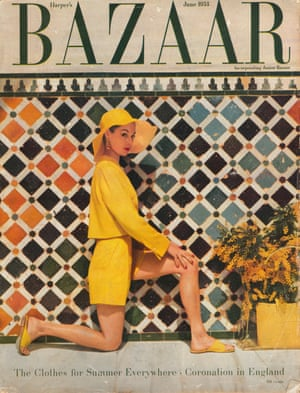 Harpers Bazaar Cover June 1953 Jean Patchett at the Alhambra, Spain. Fashion Shorts and short square jacket by Clare Potter