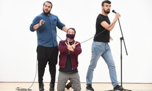 Alaa Shehada, Mark Thomas and Faisal Abu Alhayjaa, who perform in Showtime from the Frontline.