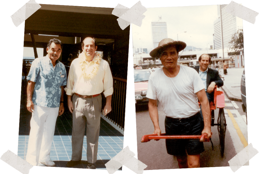 Left: Dad with the Bellman at the Mauna Kea Hotel on the Big Island in Hawaii. Right: Dad in Hong Kong where he shopped before a business meeting and was running late, early 1990s.