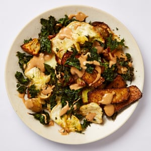 Meera Sodha's celeriac, tofu and crispy kale gado gado salad: celeriac is a great vegetable to hang a meal around, because it holds its own so well. Food styling: Emily Kydd. Prop Styling: Jennifer Kay.