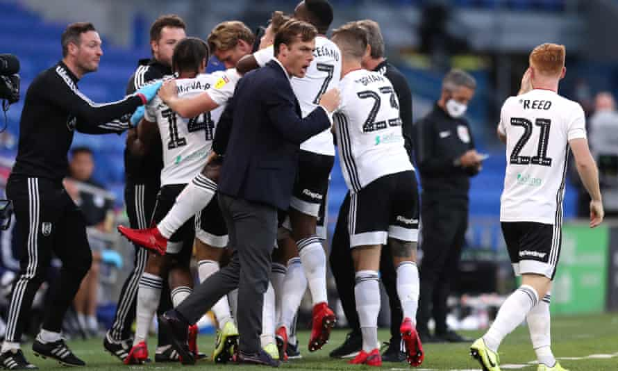 Scott Parker celebrates during Fulham's Championship play-off semi-final win against Cardiff that took Fulham to within one game of an instant return to the Premier League.