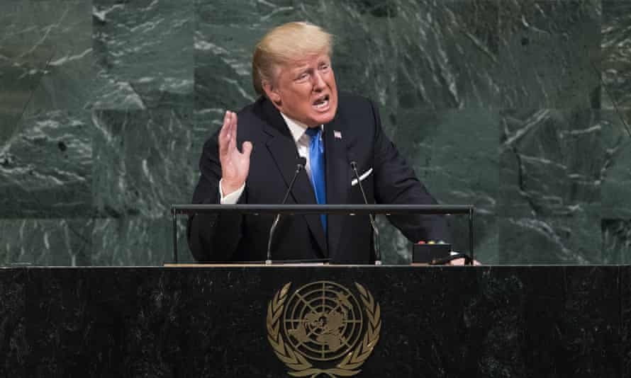 President Donald Trump addressing the UN general assembly.
