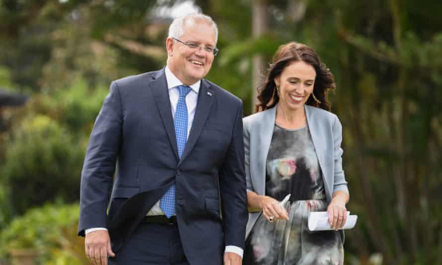 Scott Morrison and Jacinda Ardern in Sydney in February