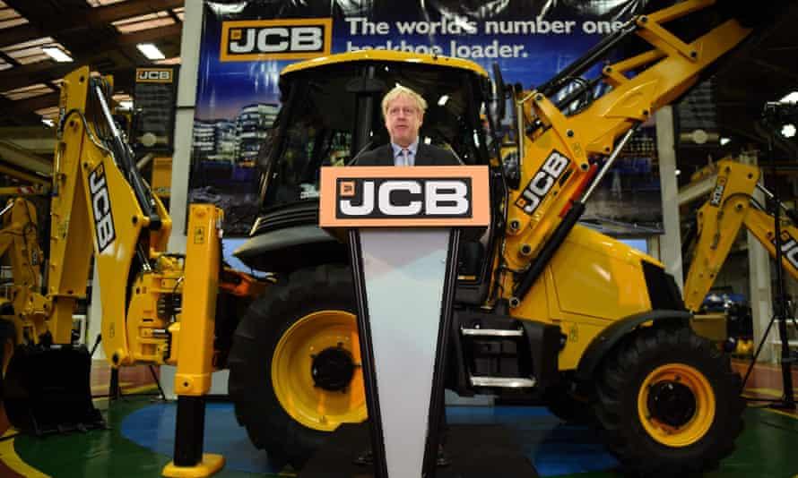 Boris Johnson speaking at JCB's headquarters