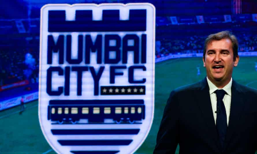 The Manchester City and City Football Group chief executive, Ferran Soriano, speaks at an event in Mumbai on Thursday.
