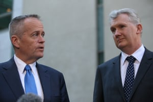 Opposition leader Bill Shorten and the manager of opposition business Tony Burke discuss the Labor resignations