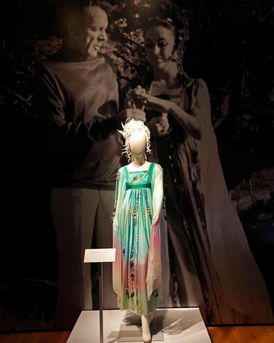 The Gina Fratini wedding dress worn by Elizabeth Taylor in her second marriage to Richard Burton on display at Christie's auction house in New York