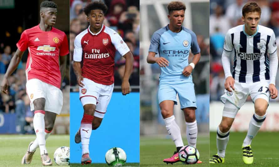 From left: Manchester United's Axel Tuanzebe, Arsenal's Reiss Nelson, Jadon Sancho of Manchester City and West Brom's Sam Field.