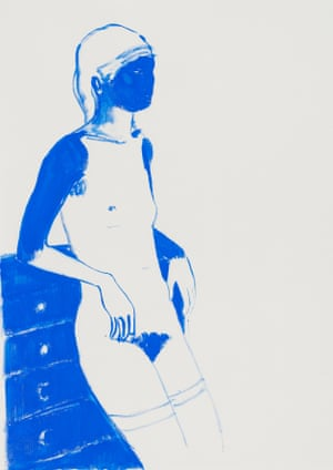 From a series of blue female nude paintings by artist Lisa Brice on show at Tate Britain, London in the Art Now exhibition.