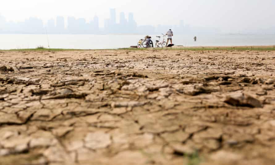View of the cracked riverbed scorched by heat waves at the Nanchang section of the Ganjiang river in Nanchang city, east China's Jiangxi province.