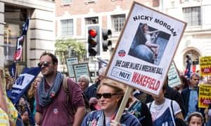 Teachers marching in Leeds