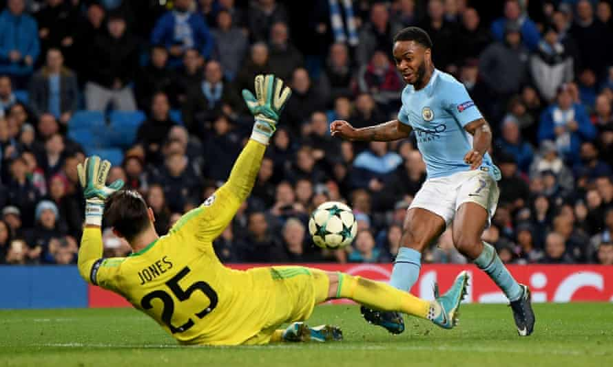 Raheem Sterling scores the goal against Feyenoord in November 2017 that convinced Manchester City's coaching staff he was learning.