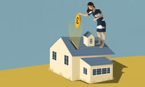 Woman on top of house