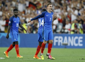 France's Antoine Griezmann celebrates at the end of the Euro 2016 semi-final against Germany.