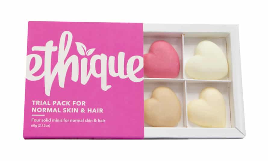 An Ethique trial pack for skin and hair.
