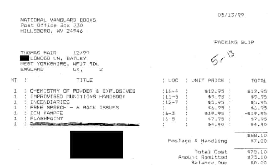 One of the published receipts.