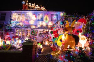 Christmas lights on a house in Danson Crescent, in Welling, south-east London