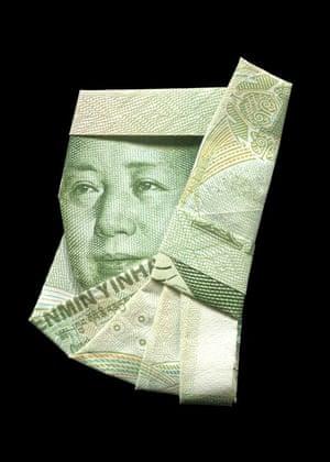 Mao illustrated using banknote origami by Japanese illustrator Yosuke Hasegawa.