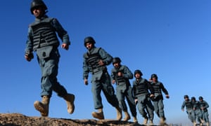 Afghan policemen undergo training in Herat. Local forces have struggled to contain the resurgent Taliban.