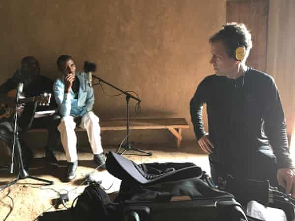 Ian Brennan recording with the Good Ones in rural Rwanda
