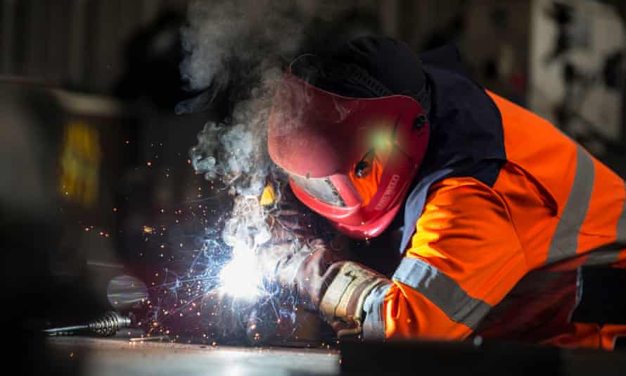 A worker at the steel plant in Scunthorpe, which will come under the revived name of British Steel.